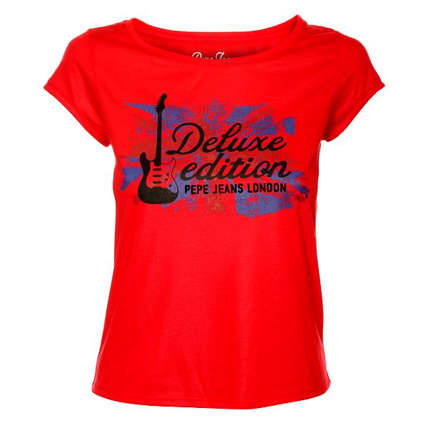 Dámské červené triko s britským potiskem Pepe Jeans