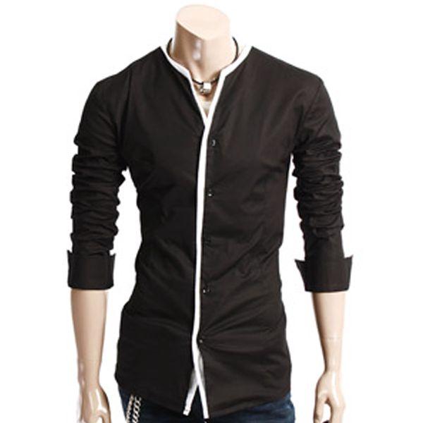 Pánská košile Doublju černá na knoflíčky