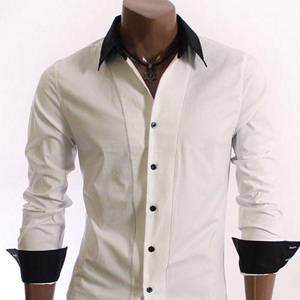 Pánská košile Doublju bílá černý lem