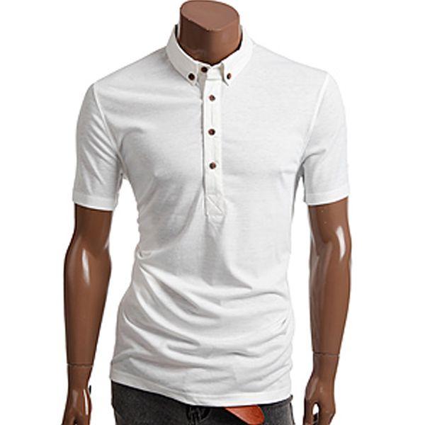 Pánské polo triko Doublju bílé krátký rukáv