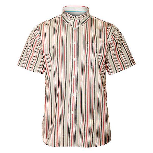 Pánska šedo-červená prúžkovaná košeľa TBS