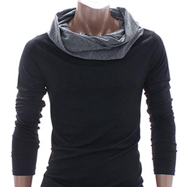 Pánské triko Doublju černé dlouhý rukáv