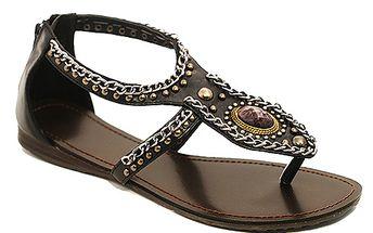 Sandály s řetízky hnědé