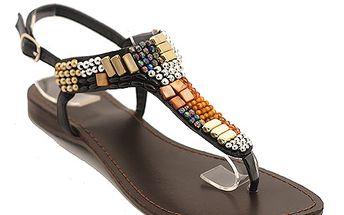 Sandály s barevnými korálky černé