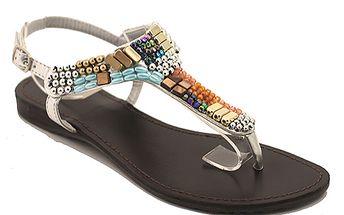 Sandály s barevnými korálky stříbrné