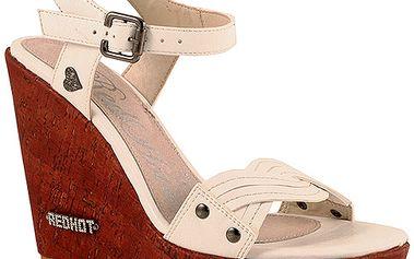 Sandály na platformě bílé se srdíčkem