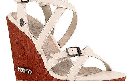 Páskové sandály na platformě bílé