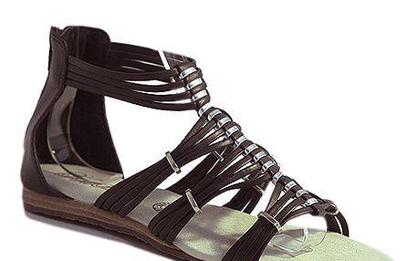 Páskové sandály černé