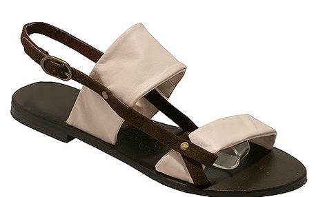 Kožené sandály hnědo-béžové