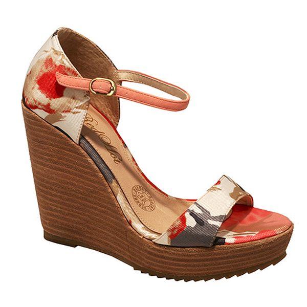 Sandály na platformě květinové