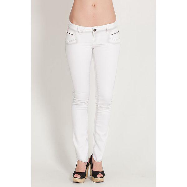 Dámské bílé elastické džíny Lois s šedým stínováním a kovovými cvoky