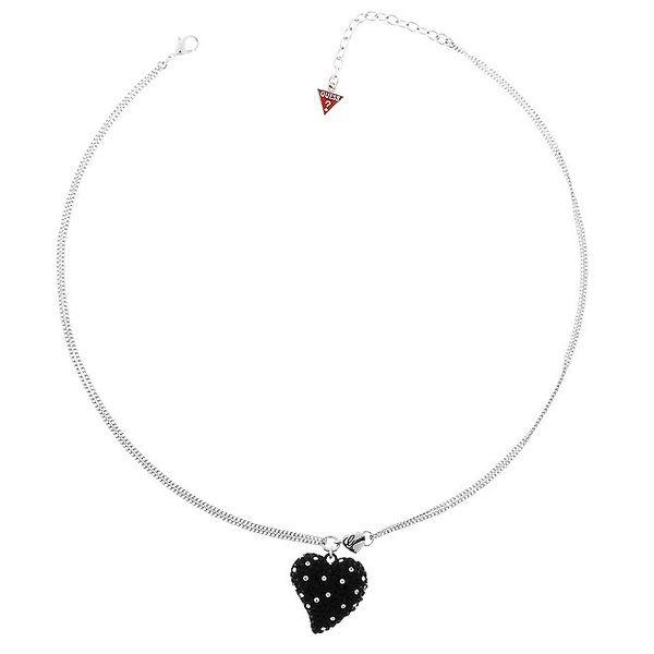 Dámsky oceľový náhrdelník Guess s čiernym srdiečkom