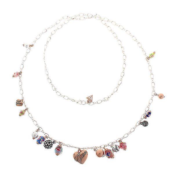 Dámsky oceľový náhrdelník Guess s maľovanými korálkami