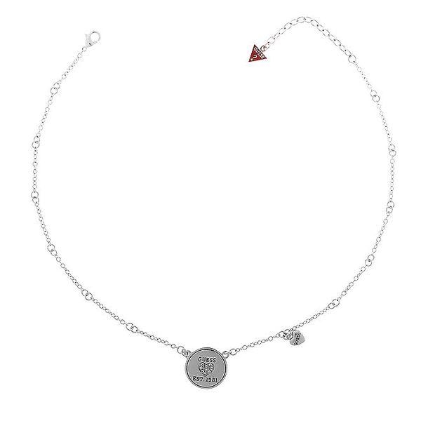 Dámský ocelový náhrdelník Guess s kulatým přívěskem