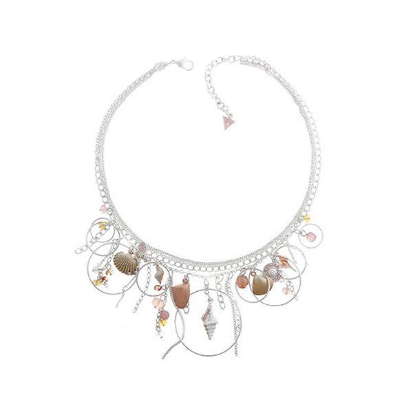 Dámsky oceľový náhrdelník Guess s kamienkami a lastúrami