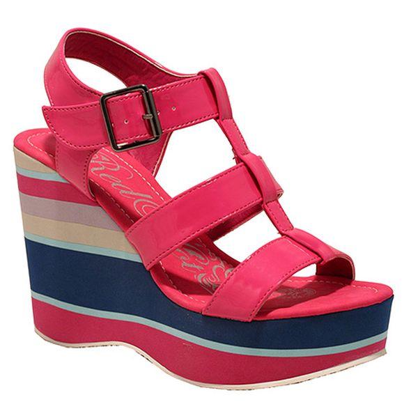 Letní boty na platformě růžové