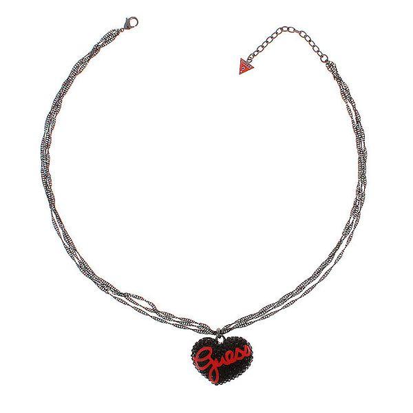 Dámský ocelový náhrdelník Guess s černým srdíčkem