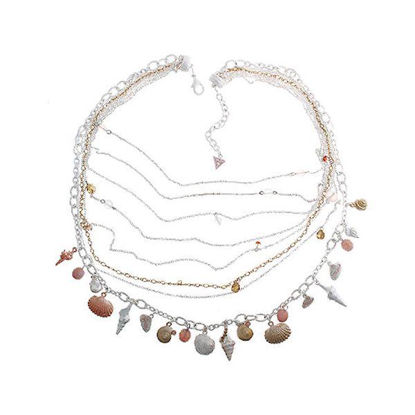 Dámský ocelový náhrdelník Guess s lasturami a řetízky