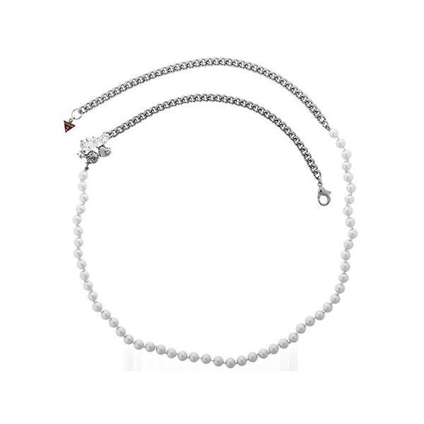 Dámsky oceľový náhrdelník Guess s perlami
