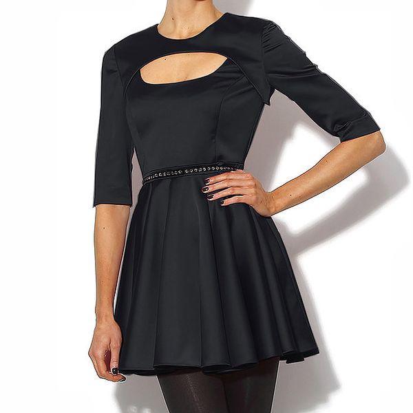 Elegantné šaty v lesklej čiernej farbe Bourne