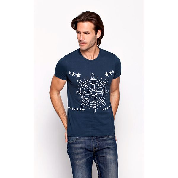 Pánská tmavě modré tričko Giorgio di Mare s kormidlem