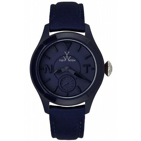 Modré ocelové hodinky Toy s koženým řemínkem