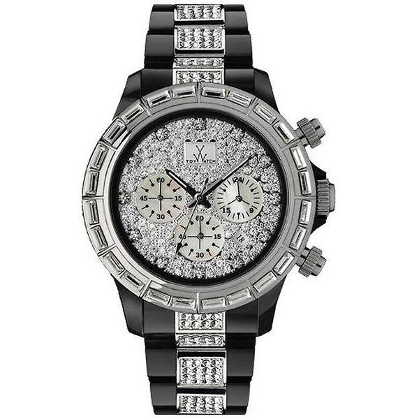 Pánské černo-stříbrné analogové hodinky s krystaly Toy