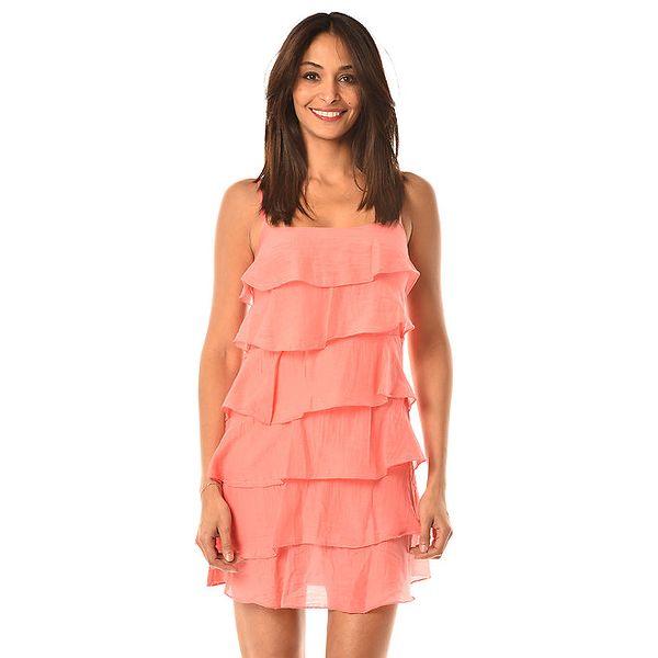 Dámske krátke korálovo červené šaty s volánkami Pink Garden
