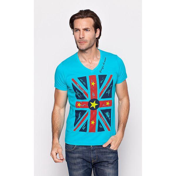 Pánské tyrkysové tričko Giorgio di Mare s motivem vlajky