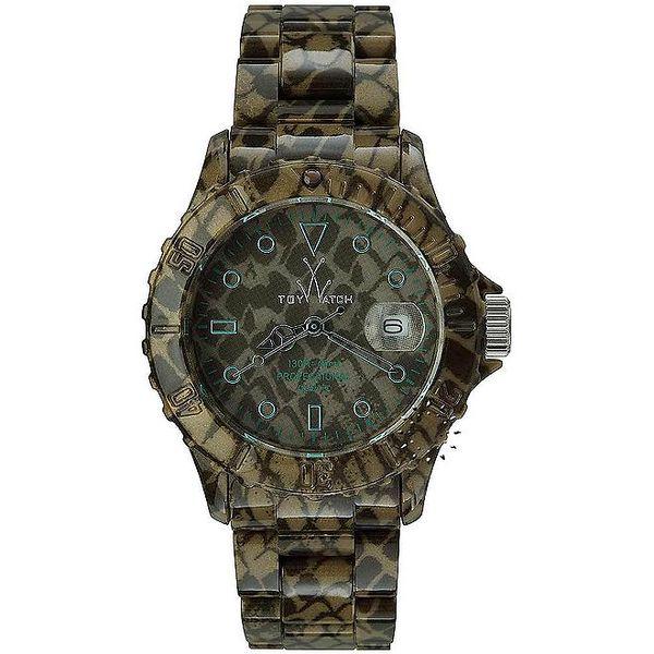 Zeleno-čierne analógové hodinky Toy s hadím vzorom