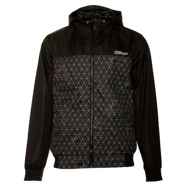 Pánská černá bunda Loap s šedivým potiskem