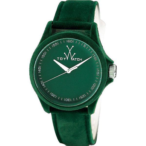 """Tmavo zelené """"plyšové"""" hodinky Toy"""