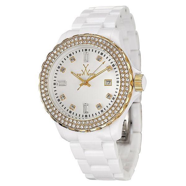 Dámské bílé plastové hodinky Toy s krystaly Swarovski Elements a zlatými detaily