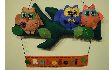 Ručně šité dekorace na dveře dětského pokojíčku nebo bytu