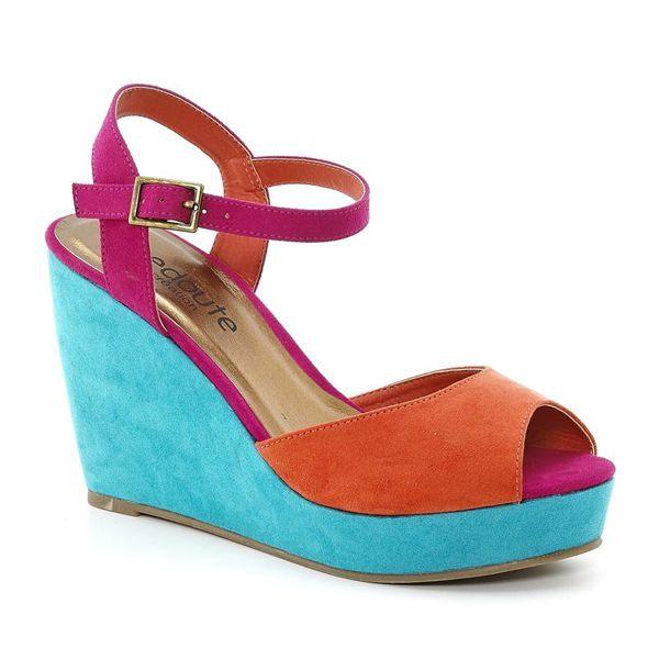 La Redoute Sandále, barevná s 10 cm vysokým klínovým podpatkem