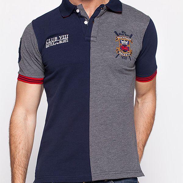 Modro-šedá polo košile Hacket