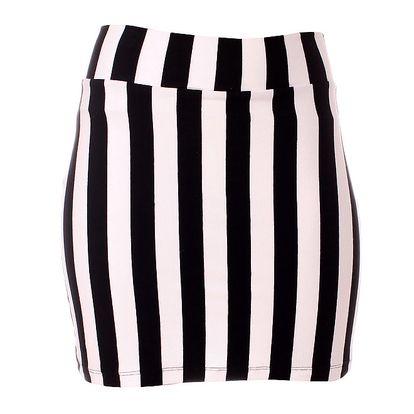Dámska čierno-biela pruhovaná minisukňa Only