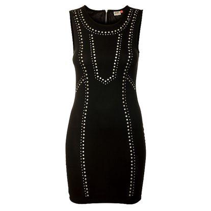 Dámské černé pouzdrové šaty Only s kovovými cvoky