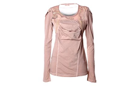 Dámska béžová bavlnená blúza s flitrami Angels Never Die