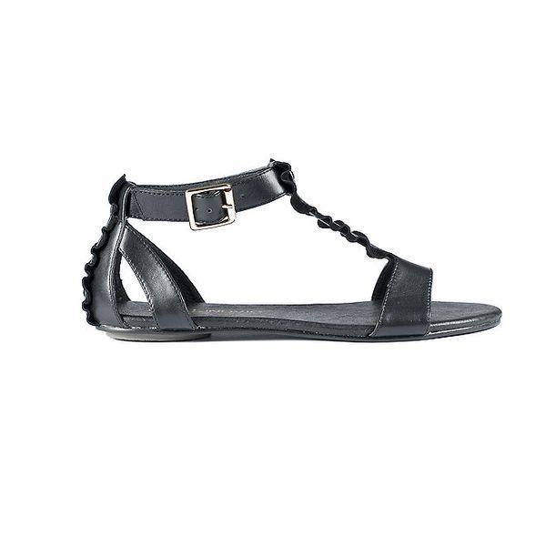 Dámske čierne sandále Lise Lindvig s volánmi