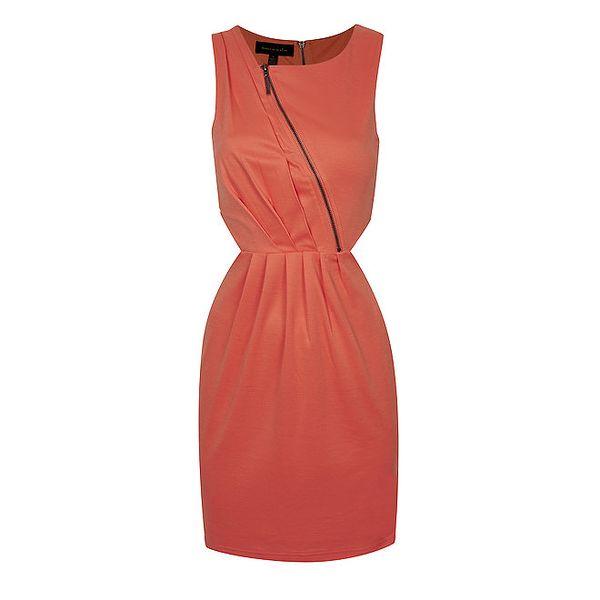 Dámské korálově červené šaty s průstřihy House of Dereon