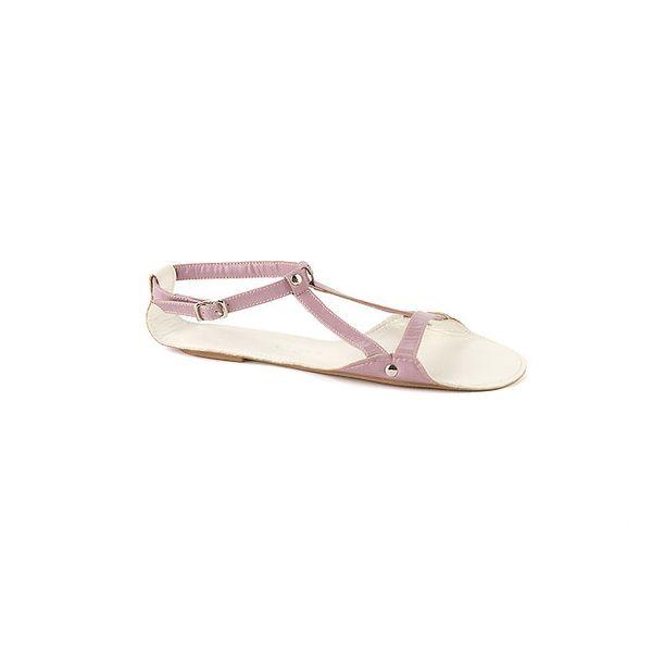 Dámské šeříkové kožené sandály Lise Lindvig s bílou stélkou