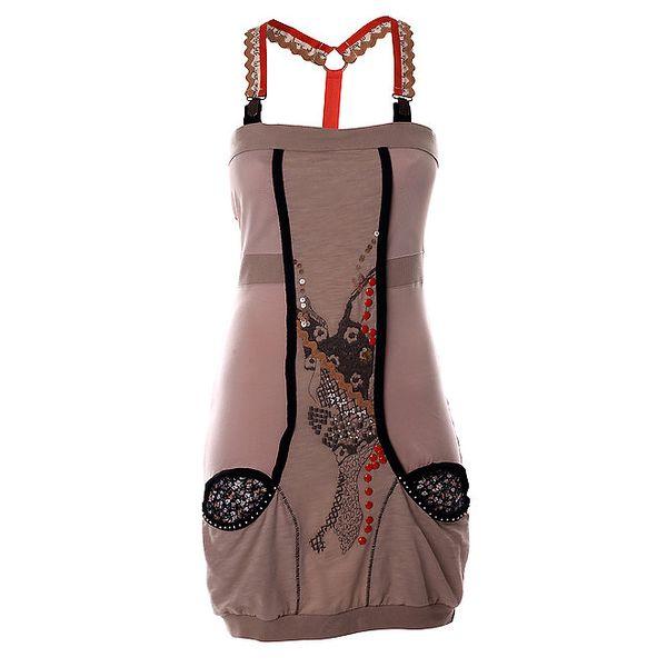 Dámské béžové šaty s potiskem a kšandami Angels Never Die