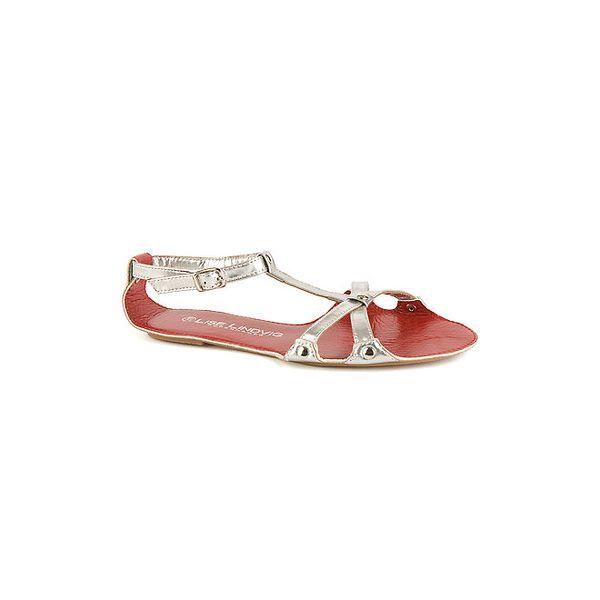 Dámske strieborné kožené sandále Lise Lindvig s červenou stielkou