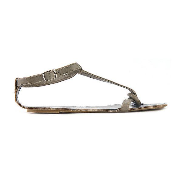 Dámské šedivé sandály Lise Lindvig s tmavě modrou stélkou