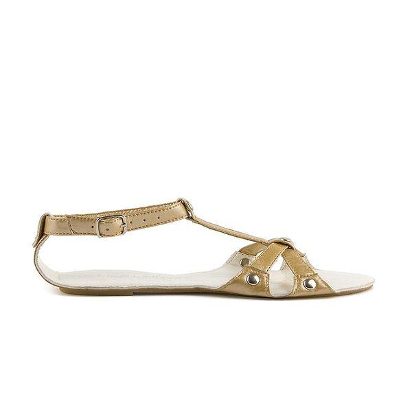 Dámske biele kožené sandále Lise Lindvig se zlatou stielkou