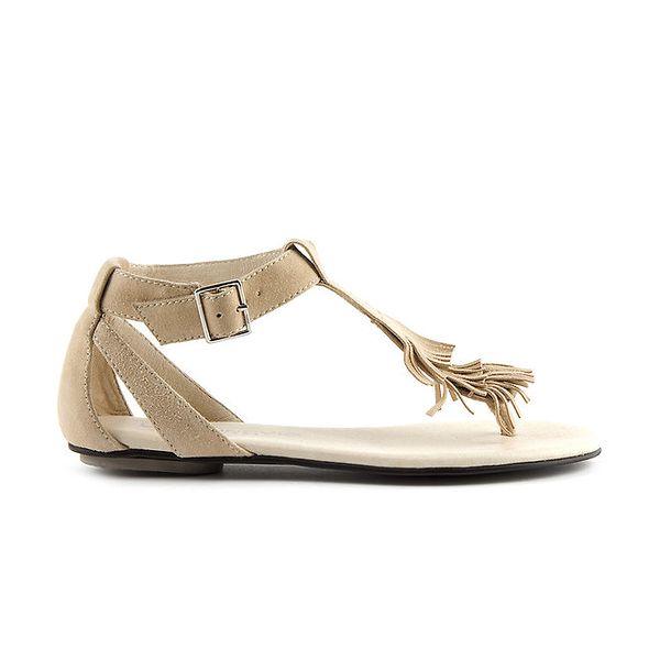 Dámske krémové semišové sandále Lise Lindvig s indiánskými strapcami
