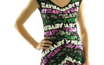 Dámské tričko Baby Phat černé barevný potisk S