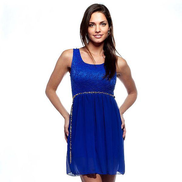 Dámské zářivě modré šaty Trois Quatorze s krajkou a zlatým řetízkem