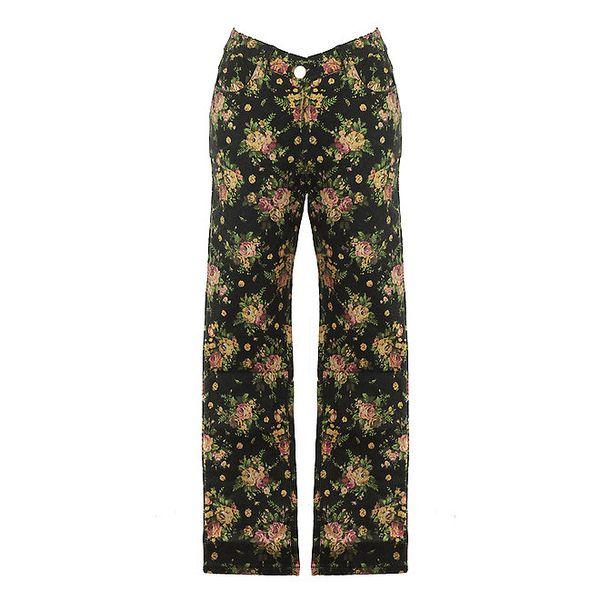 Dámské černé květované kalhoty Mlle Agathe